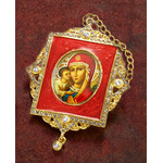 M-1R-5 Virgin Mary adn Christ Faberge Inspired Framed Icon Ornament With Ctystals & Chain