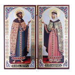 "N19 Diptych In Velvet Case Matching Icons Of Virgin of Vladimir & Christ The Teacher 5""x4""x8"""
