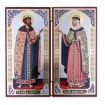 """N19 Diptych In Velvet Case Matching Icons Of Virgin of Vladimir & Christ The Teacher 5""""x4""""x8"""""""