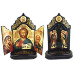 TRIPT-900 ONE OF A KIND  Hand Painted Wooden Triptych Foldable Icon of Virgin of Vladimir & Christ Saint Michael & St Gabriel 10 1/2""