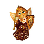 "100-041 Christmas Ornament Angel Wood Hand Carved Hand Painted AVAILABLE ASSORTED COLORS ONLY 3""X 2 1/2"""