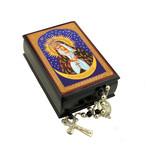 "IBX-5-O  Icon Box Virgin of Ostrobrama Keepsake Rosary Box  3 3/4""x2 1/2"""
