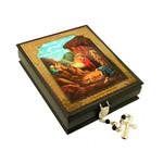 "IBX-6-N   Keepsake Rosary Box  Nativity of Christ NEW Icon Box ! 5""x4"""