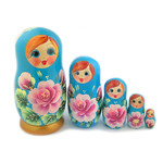 "200-679G Matreshka 5 Nested Doll Hand Painted  4""x2 1/2"""