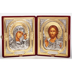 "SI-18 Presentation Wedding Gift  Icon Set Christ The Teacher & Virgin of Kazan Attractive Plush Velvet Case 9 3/8""x16"""