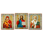"IR-478-481-299A  Matching Set of 3  Icons Virgin Mary  Christ The Teacher & St Nicholas 15 7/8""x13 1/8"""