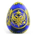 3-22B IMPERIAL EAGLE FABERGE STYLE CRYSTAL EGG