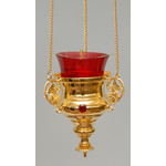 3410028 GOLD PLATED w/3 Stones Hanging Lamp!