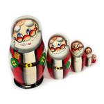 "7129S Santa 5 Nesting Doll Hand Painted 4 1/4""x2 1/2"""