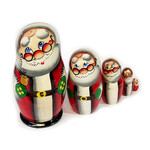 "7129S Santa 5 Nesting Doll Hand Painted 4 1/4""x2 1/2"""