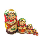 "CK-2 ""Balalayka"" Matreshka 5 Nested NEW Linden Wood Hand Carved Hand Painted Nesting Doll 4""x2 1/2"""