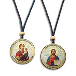 SF-671 Christ and Virgin of Smolensk Rd Reversable Icon W/Rope