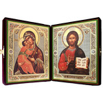 "SF-702 Matching Icon Set in Velvet Case Virgin of Vladimir and Christ The Teacher NEW!! 8 1/2""x 14 1/2"""