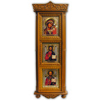 "K-13 Huge Wood Shrine w/Glass Icons 33""x12"""