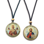 SF-689 Christ/St Nicholas REVERSABLE Icon on a Rope. New!!