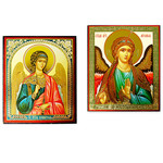 "28/30 - 28/110  St Michael & Guardian Angel Icons Each 3""x2 1/2"""