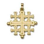"""743 Jerusalem Cross 14kt Gold 1 1/4"""""""