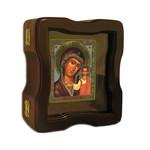 """K-4-SF-603 Virgin of Kazan Open up Woodshrine with Glass 7""""x6"""""""