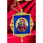 M-1B-01 Virgin Mary Faberge Inspired Framed Icon Ornament With Ctystals & Chain