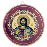 "ANA-Icon-CR Crist The Teacher Round Ceramic Icon Decorated with 24kt Gold 3 1/2""x3 1/2"""