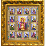"CT19 Museum Quality Icon Finift Hand Enameled Hand Painted Frame 16 1/2""x15 3/4"""