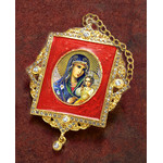 M-1R-29 Virgin Mary Faberge Inspired Framed Icon Ornament With Ctystals & Chain