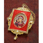M-1R-1 Virgin Mary Faberge Inspired Framed Icon Ornament With Ctystals & Chain