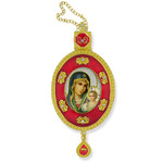 M-2R-9 Virgin of Enternal Bloom Faberge Inspired Framed Icon Ornament With Ctystals & Chain