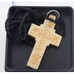 "SC037 Hand Carved Wooden Cross From Greece 1 1/16""x1"""