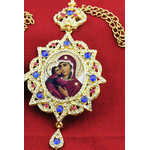 M-3-1 Virgin Mary and Child Star Shape  Framed Icon With Ctystals & Crown NEW!!