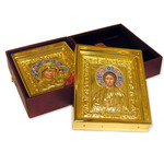 2-W  Wedding Icon Gold Plated Enameled Leather Case Glass Removable Icons