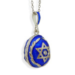 8186 Silver Blue Pendant With A Star Of David with Sterling Silver Chain