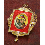 M-1R-4 Virgin Mary Faberge Inspired Framed Icon Ornament With Ctystals & Chain