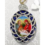 M-4B-N Nativity of Christ  Faberge Inspired Framed Icon With Ctystals & Detachable Chain Bow
