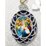 M-4B-NA Nativity of Christ With Angels Faberge Inspired Framed Icon With Ctystals & Detachable Chain Bow