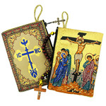 "TIP2  Crucifixion Icon Pouch 5 3/8""x4"" NEW!!!"