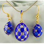 519-27-8077 Set of Faberge Style Egg Pendant and Earrings, Sterling Silver 925, Enameled & Gold Plated