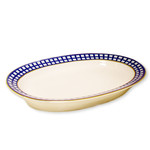 """L5280Cobalt Check Oval Platter 12"""""""