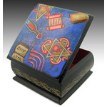RBX-56 Judaica Hand Painted Box with Traditional Jewish Symbols