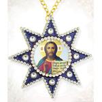 M-6B-16 Christ the Teacher  Star of Bethlehem Faberge Style Framed Icon Pendant Ornament NEW!!!!