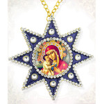 M-6B-5  Virgin Mary & Christ With Flowers Star of Bethlehem Faberge Style Framed Icon Pendant NEW!!!!