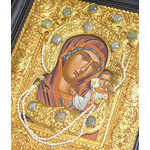 "E78 Silver Icon with Stones & Pearls Virgin of Kazan 16""x14"""