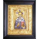 "E80 St Nicholas Silver Icon with Stones & Pearls 13 1/2""x11 1/2"""