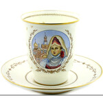 C&S-9 Lomonosov Porcelain Hand Painted With Gold Cup & Saucer