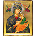 "TES102S Virgin Perpetual Help Serigraph Icon Decorated With Silver & Stones XLG with Cerificate 14 3/4""x11 3/4"""