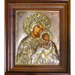 "EK806 Virgin Mary & Child Silver 925 Hand Painted Icon in Wooden Frame & Glass NEW!! 14 1/2""x12 1/4"""
