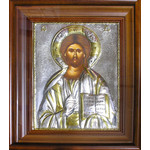 "EK807 Christ The Teacher Hand Painted Silver Icon in Wooden Framed with Glass NEW!! 14 1/2""x12 1/4"""
