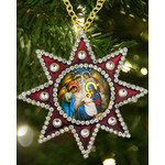 M-6R-NA Christmas Ornament Nativity of Christ Star of Bethlehem Faberge Style Framed Icon Pendant NEW!!!!