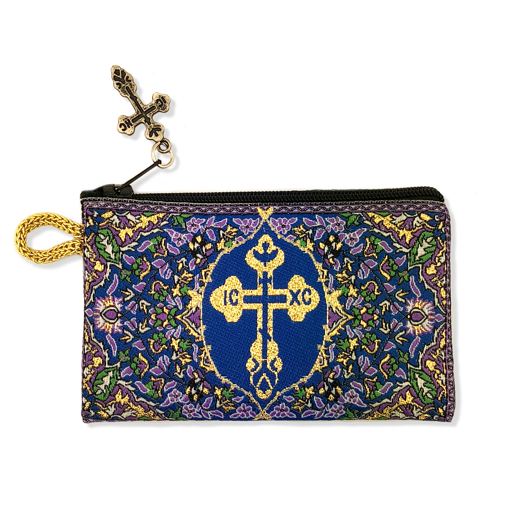 Cp 18 Byzantine Cross Rosary Prayer Beads Tapestry Keepsake Holder Pouch Purple Blue Gold 4 3 4 Inch Width