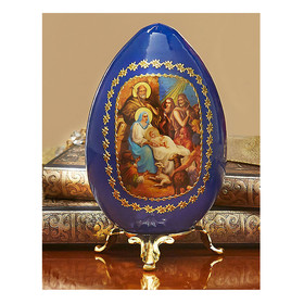 "IED-7B-1 Nativity Of Christ Blue Egg With Gold  Stand NEW! 3 1/4""x2 1/2"""